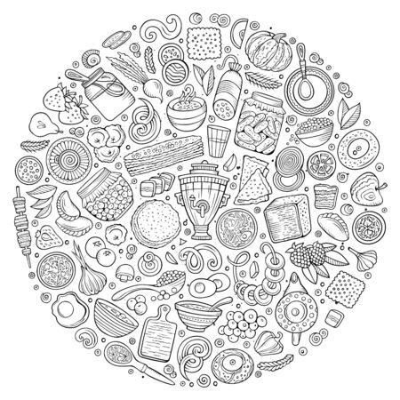 Line art hand drawn set of Russian food cartoon doodle objects, symbols and items. Round composition Banco de Imagens