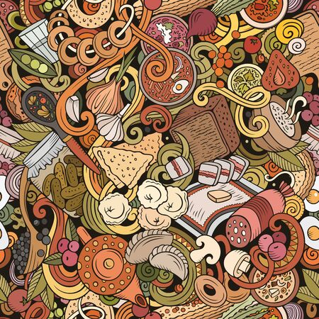 Cartoon cute doodles hand drawn Russian food seamless pattern. Colorful detailed, with lots of objects background. Endless funny illustration. 스톡 콘텐츠