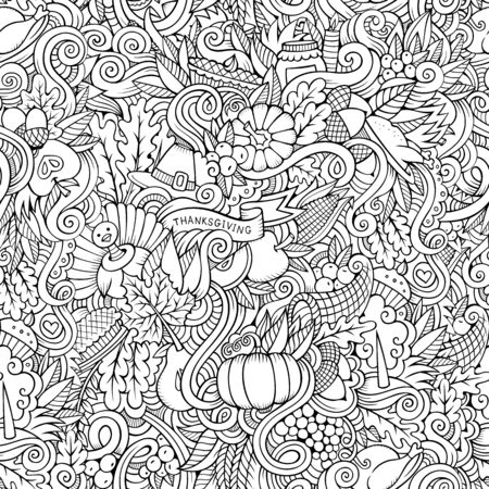 Thanksgiving autumn symbols, food and drinks seamless pattern. Stock Photo