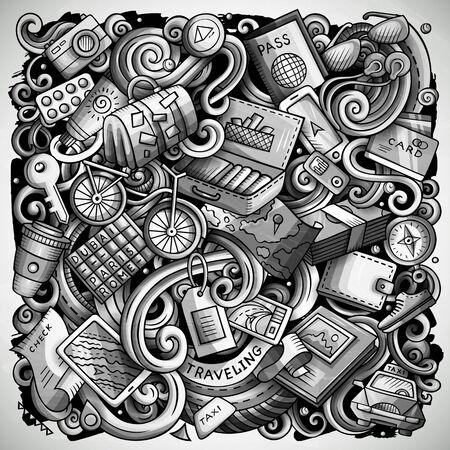 Travel hand drawn doodles illustration. Traveling poster design. Stock Photo