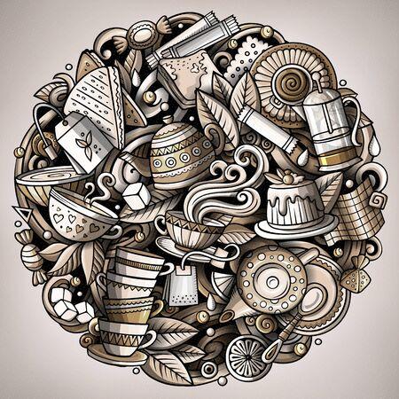 Cartoon doodles Tea illustration. Cafe funny picture