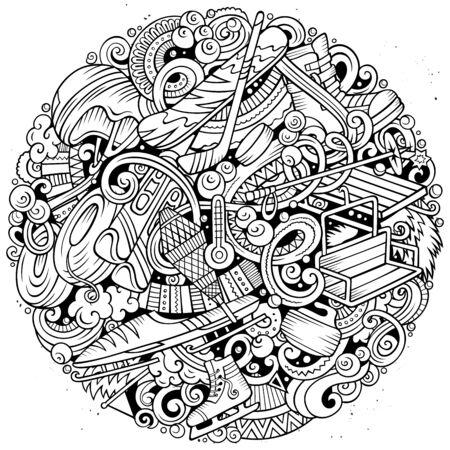 Winter Sports hand drawn doodles illustration. Ski resort poster design