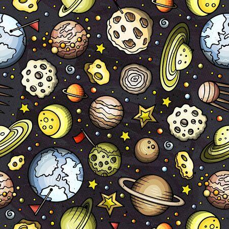 Cartoon hand-drawn space, planets seamless pattern 스톡 콘텐츠