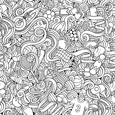 Sports hand drawn doodles seamless pattern. Line art background