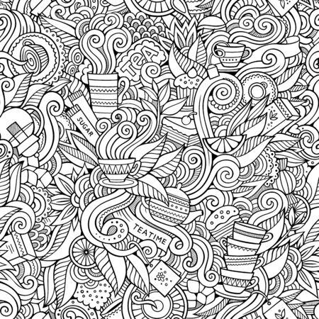Cartoon cute doodles hand drawn Tea House seamless pattern.