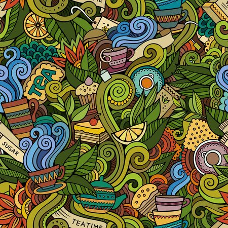 Cartoon cute doodles hand drawn Tea House seamless pattern Stock Photo