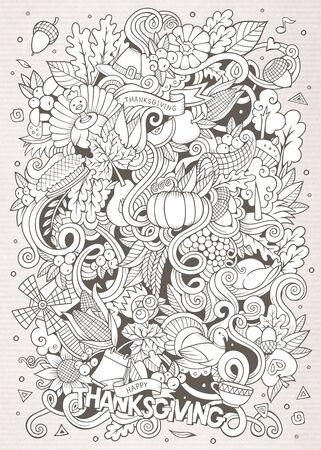 Cartoon hand-drawn Doodle Thanksgiving. Sketchy design