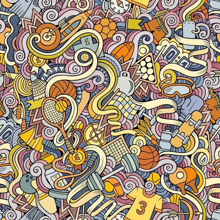 Sports hand drawn doodles seamless pattern