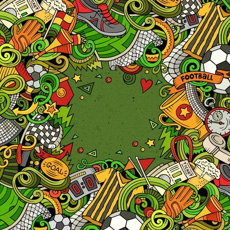 Cartoon doodles Soccer frame. Colorful, detailed, background Фото со стока