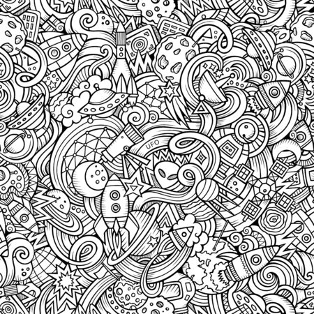 Cartoon hand-drawn doodles on the subject of space pattern