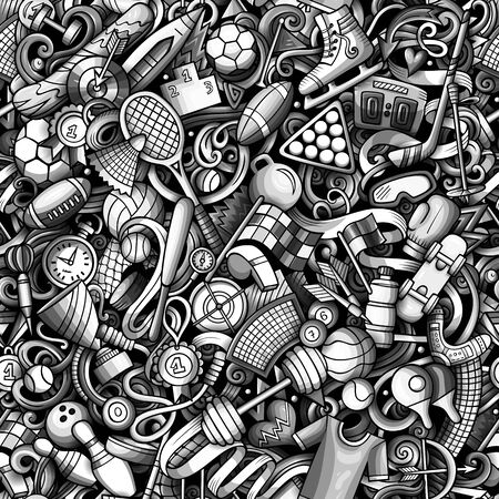 Sports hand drawn doodles seamless pattern.