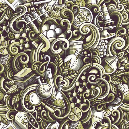 Cartoon cute doodles hand drawn Science seamless pattern Stock Photo