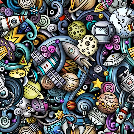 Cartoon cute doodles Space seamless pattern Фото со стока