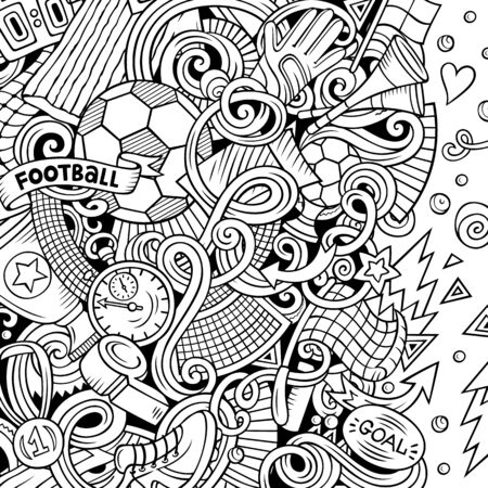 Cartoon doodles Soccer frame. Line art, with lots of objects background Standard-Bild - 130264967