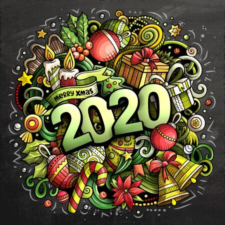 2020 hand drawn doodles chalk board illustration. New Year objec