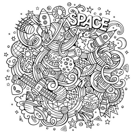 Cartoon hand-drawn doodles Space illustration
