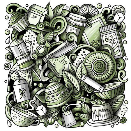 Cartoon doodles Tea illustration. Toned Cafe funny picture
