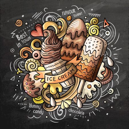 Cartoon cute doodles hand drawn Ice cream illustration 写真素材