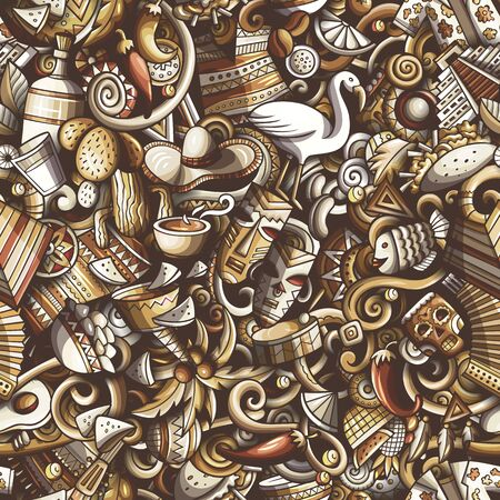 Cartoon cute doodles Latin America seamless pattern Stock Photo