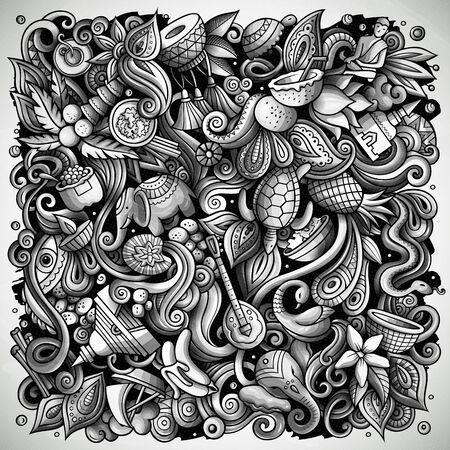 India hand drawn doodles illustration. Indian poster design.