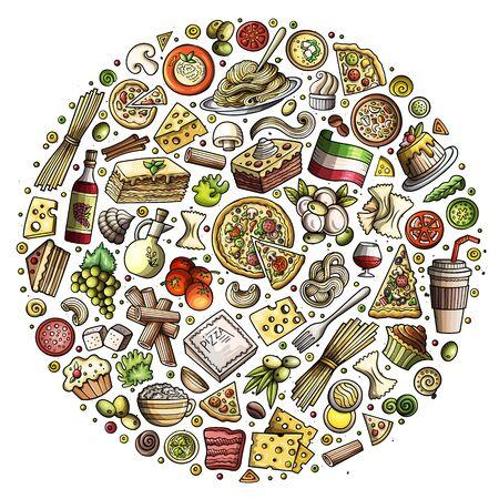 Set of Italian food cartoon doodle objects, symbols and items