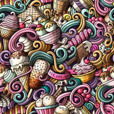 Cartoon hand-drawn ice cream doodles seamless pattern Фото со стока - 130265334