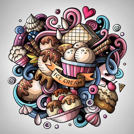 Cartoon cute doodles hand drawn Ice cream illustration Banco de Imagens