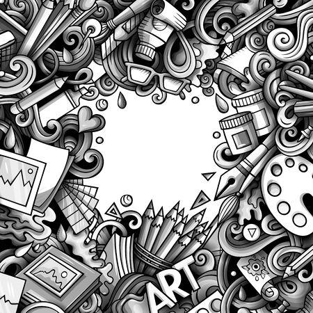 Cartoon doodles Art card. Monochrome detailed illustration. Standard-Bild - 130265337