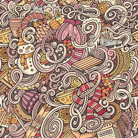 Cartoon doodles Winter season seamless pattern. Endless illustration.