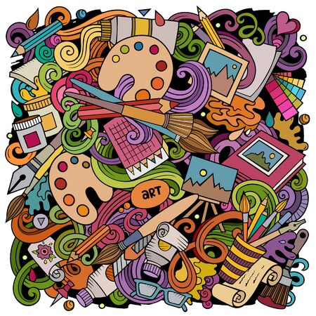 Cartoon doodles Art and Design illustration. Standard-Bild - 130265344