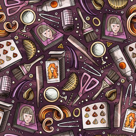 Cartoon hand-drawn Hair salon seamless pattern. Lots of symbols, objects and elements. Perfect funny background. 스톡 콘텐츠