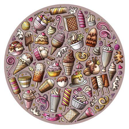 Set of Ice Cream cartoon doodles objects Фото со стока - 130265579