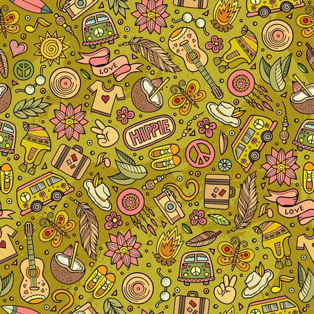 Cartoon hand-drawn hippie doodles seamless pattern. Colorful detailed, with lots of objects background