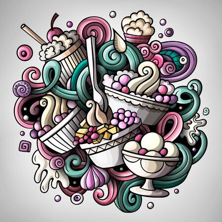 Cartoon cute doodles hand drawn Ice cream illustration. Colorful detailed, with lots of objects background. Funny artwork