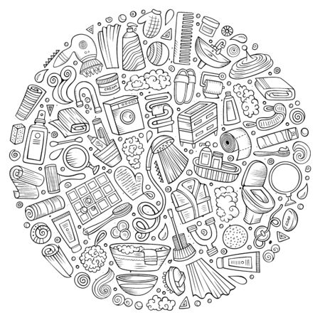 Line art hand drawn set of Bathroom cartoon doodle objects, symbols and items. Round composition Banco de Imagens