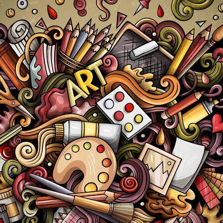 Cartoon doodles Art card. Artistic funny border Standard-Bild - 130265842