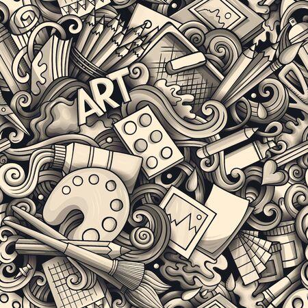 Cartoon cute doodles hand drawn Artist seamless pattern Standard-Bild - 130265839