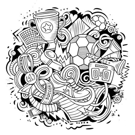 Cartoon line art doodles Football illustration