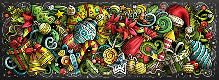 2020 doodles horizontal illustration. New Year objects and elements poster