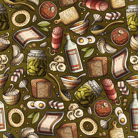 Cartoon hand-drawn Russian food seamless pattern