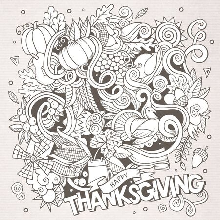 Cartoon hand-drawn Doodle Thanksgiving. Sketchy design