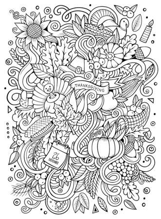 Dibujos animados dibujados a mano Doodle Acción de Gracias. Diseño incompleto Foto de archivo