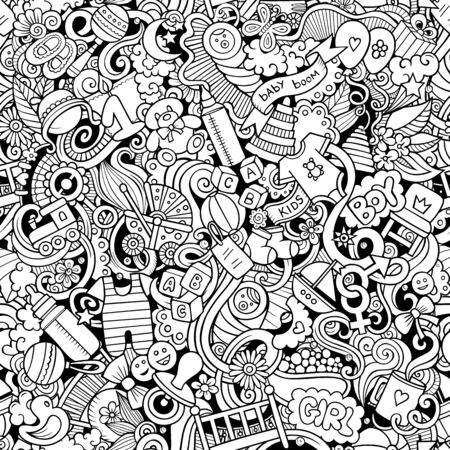Cartoon cute doodles hand drawn Baby seamless pattern. Line art detailed, with lots of objects background. Endless funny vector illustration. All objects separate.