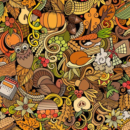 Cartoon cute doodles hand drawn Happy Thanksgiving seamless pattern. Colorful detailed, with lots of objects background. Endless funny vector illustration. All objects separate. Illusztráció