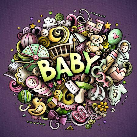 Baby hand drawn cartoon doodles illustration. Creative art vector background. Illustration