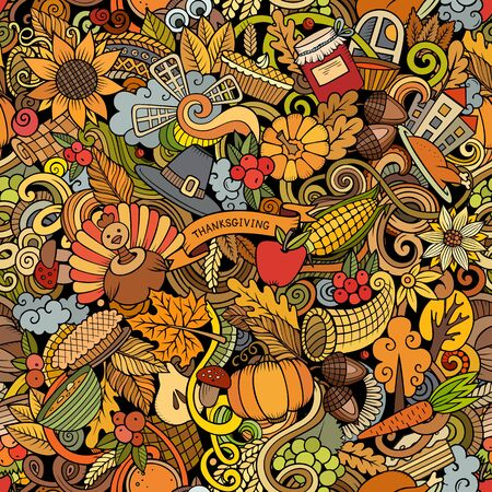 Cartoon cute doodles hand drawn Happy Thanksgiving seamless pattern. Colorful detailed, with lots of objects background. Endless funny vector illustration. All objects separate.