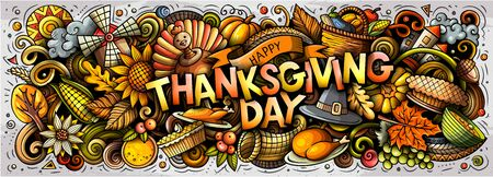Illustration de griffonnages de dessin animé dessinés à la main Happy Thanksgiving. Conception d'affiches d'objets et d'éléments drôles de vacances. Fond d'art créatif. Bannière de vecteur coloré Vecteurs