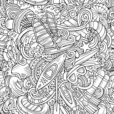 Cartoon cute doodles hand drawn water extreme sports seamless pattern. Line art detailed, with lots of objects active lifestyle background. Endless funny vector illustration. All objects separate. Illustration