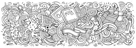 Pizza hand drawn cartoon doodles illustration. Pizzeria funny objects and elements design. Creative art background. Line art vector banner Vettoriali