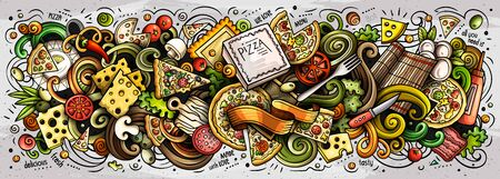 Pizza hand drawn cartoon doodles illustration. Pizzeria funny objects and elements design. Creative art background. Colorful vector banner